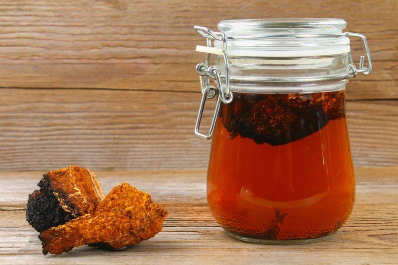 nakrájená houba chaga a sklenice s čajem z chagy