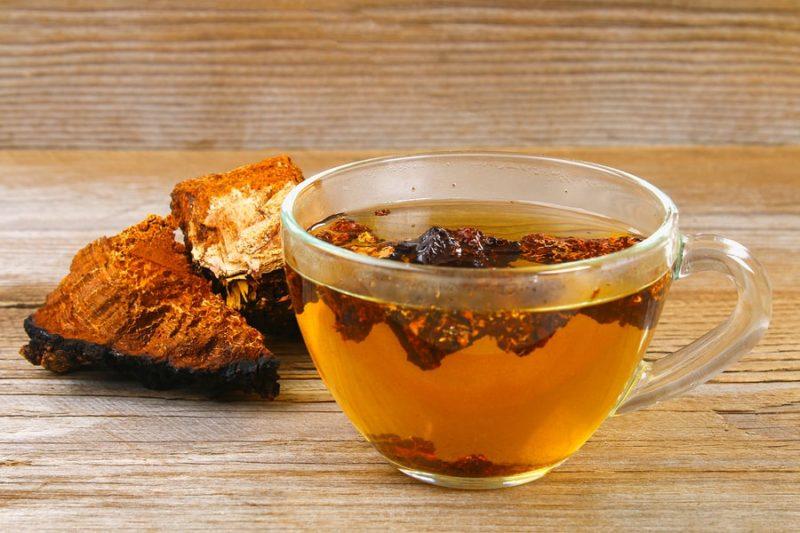 houba chaga a hrnek čaje z chagy
